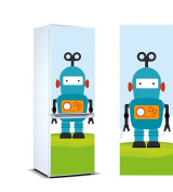 Stickers Fridge Cover for Vinyl Children's Robot with Blue Background Several Sizes 185 x 70cm   Strong Adhesive and Easy Application   Decorative Adhesive Sticker with Smart Design