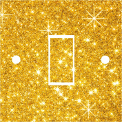 Gold Glitter effect Light Switch Cover Wrap Skin UK Single Switch Sticker Vinyl Decal P1O
