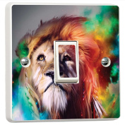 Lion The King Psychedelic Art 3D Vinyl Light Switch Cover Sticker Decal Mural by Inspired Walls®