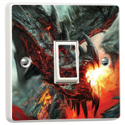 Dragon Fire Fantasy Apocalypse 3D Vinyl Light Switch Cover Sticker Decal Mural by Inspired Walls®