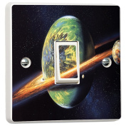 Planets in Space Orbit 3D Vinyl Skin Light Switch Cover Skin Sticker Decal by Inspired Walls®