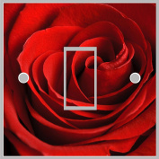 Red Rose Flower Light Switch Cover Wrap Skin UK Single Switch Sticker Vinyl Decal