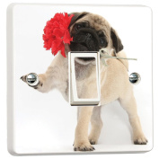 Cute Pug Dog Puppy Rose Flower Light Switch Cover Skin Sticker Decal by Inspired Walls®