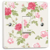 Pink Floral Shabby Chic Roses Skin Light Switch Cover Skin Sticker Decal by Inspired Walls®