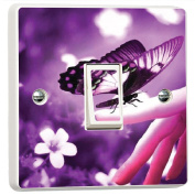 Purple Butterfly Flowers Vibrant Light Switch Cover Skin Sticker Decal by Inspired Walls®