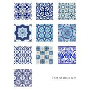 HUHU833 10Pcs Vintage Square Self Adhesive Tile Stickers Decal Home Decor