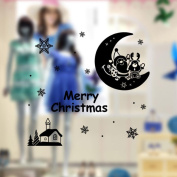 VENMO Waterproof Christmas Wall Stickers Decoration Santa Claus Deer Outdoor Reomovable Store Windows Vinyl Wall Decals Cling