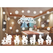 Christmas Wall Sticker, Woopower 55cmx36cm Removable Static cling Glass Sticker Bath Glass Window Glass Sticker Home Decor Xmas Party Supplies