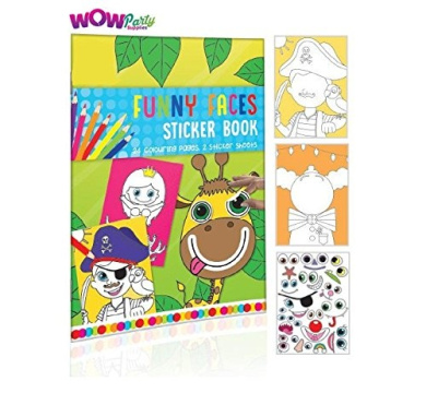 WOW Children's A4 Funny Faces Colouring and Sticker Book with Sticker Sheets
