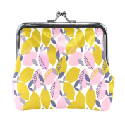 COOSUN Lemons Pattern Leather Coin Purse snap Closure Clutch Coin Wallet