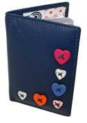 Mala Leather Small I D Holder Colour Navy Style Lucy 58330 RFID New