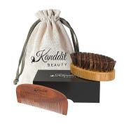 Kanddit Beauty Beard Brush and Beard Comb kit for Men Grooming, Styling & Shaping - Handmade Wooden Comb and Natural Boar Bristle Beard Brush set for Men Beard & Moustache With Travel Bag