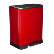 PROFESSIONAL quality 50L bin- silent closing- large pedal and handles- protects against finger marks- colour RED