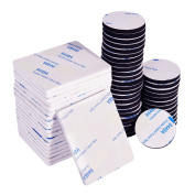 60 Pieces Double Sided Adhesive Foam Pad Double Adhesive Tape, Rectangle and Round, White and Black