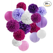 APLANET 20 Purple Lavender Paper Pom Poms and Paper Lanterns, for Wedding and Party Decorations