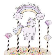 SWIDUUK Fashion Happy Birthday Unicorn Cloud Cake Topper Decor for Birthday Party Anniversary