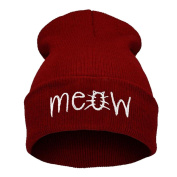 Unisex Stylish Winter Knitting MEOW Beanie Hat and Snapback Men And Women Hiphop Cap
