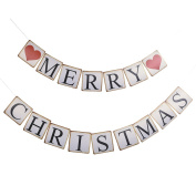Christmas Banner, Yunt Retro Love Heart Shape MERRY CHRISTMAS String Flag Bunting DIY Wall and Door Hanging Decorations for Xmas New Year Holiday Party