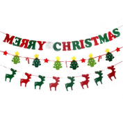 Cheap4uk Merry Christmas Bunting Hanging Buntings Banner Garland for Xmas Party Ornaments DIY Home Hotel Yard Wall Decoration