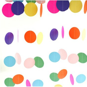 euhuton 2 Packs 4 Metres Round Paper Garland Assorted Colours Dots Circle Paper Hanging Decorations for Birthday Wedding Party