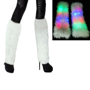 Aoneky LED Lighting Flashing Furry Arm Leg Warmers - Light Up Clothing Accessories for Women & Girls, 1 pair