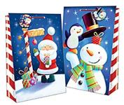 2 Assorted Design Christmas Super Jumbo Gift Bag Cute Character Printed Kids Children Present Fun Tree Santa Snowman