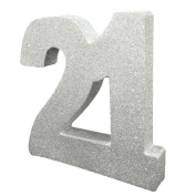 Silver Glitter Number Table Decoration Age 21