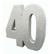 Silver Glitter Number Table Decoration Age 40