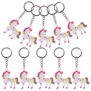 WuliRose 10 Pcs Unicorn Keychains Keyrings Tags Unicorn Party Favour Supplies Christmas Birthday Gifts for Kids
