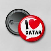 I Love Qatar (5.8cm) Personalised Pin Badge Printed in Hi-RES Photo Quality