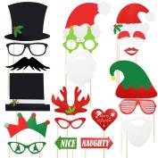 Meetory 20 Pcs Christmas Photo Booth Props,Funny DIY Favour Props,Santa Hat Masks Moustache Lip Hat Antler for Christmas Party