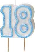 WOW GLITTER BLUE 18th Birthday Candle