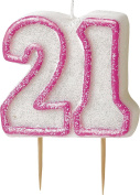 WOW GLITTER PINK 21th Birthday Candle