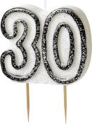 WOW GLITTER BLACK/SILVER 30th Birthday Candle
