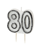 WOW GLITTER BLACK/SILVER 80th Birthday Candle