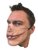Speak No Evil Stitched Mouth Half Face Mask by Rubber Johnnies , Latex , Halloween , Horror