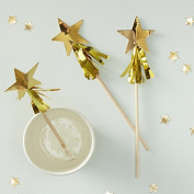 Ginger Ray Star Shaped Gold Tassel Fringe Christmas Party Festive Drink Stirrers x 15 - Metallic Star