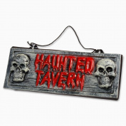"Peeks ""Haunted Tavern"" Halloween Decorations Hanging Plaque Sign - 37 x 14cm"