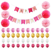 Aiernuo Happy Birthday Decorations Banner with Tissue Pom Poms Flowers and Latex Party Balloons in Pink White Gold