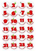 24 Christmas Advent Calendar Stickers - Sleeps 'Til Christmas, White