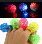 ZCSMg 12 pcs Flashing Strawberry Shaped Led Ring Luminous Finger Lamp for Party Decor