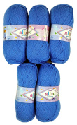 5 x 289 500 Gramme Wool 100g Alize Bebe Blue Knit and Crochet