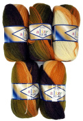 5 x 100 g Alize Knitting Wool Olive Green Gradient Brown Terracotta Salmon Ochre 40% Content No 5731 500 Gramme Cotton