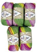 5 x 50 g Cotton Gradient Purple Lilac Green Yellow No., 250 g Knitting Wool Yarn 100% Cotton
