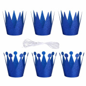 iiniim 6Pcs Birthday Crown Headband Hats Party Festival Decoration for Boys and Girls Adult Blue One Size