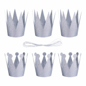 iiniim 6Pcs Birthday Crown Headband Hats Party Festival Decoration for Boys and Girls Adult Silver One Size
