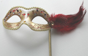 RED & GOLD JEWELLED VENETIAN MASQUERADE PARTY EYE MASK WITH FEATHERS ON A STICK