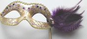 PURPLE & GOLD JEWELLED VENETIAN MASQUERADE PARTY EYE MASK WITH FEATHERS ON A STICK