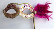 PINK & GOLD JEWELLED VENETIAN MASQUERADE PARTY EYE MASK WITH FEATHERS ON A STICK