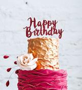 Happy Birthday Cake Topper Swirly - Glittery Dark Pink Party Cake Decoration